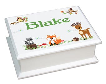 Personalized Green Forest Animal Lift Top Jewelry Box Critters Deer Fox Owl Forest Woods Owls Racoon jeweb-218a