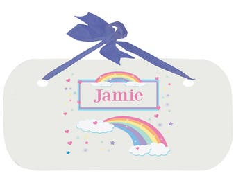 Personalized Boys Door Sign with Pastel Rainbow Design-wplaq-blu-235b