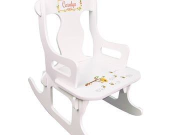 Personalized White Puzzle Rocking Chair with Honey Bees Design-puzz-whi-338