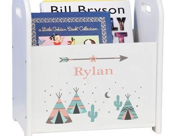 Personalized TeePee Book Caddy Storage child's Tee Pee Nursery Room Decor Baby Gift South west Aztec coral mint cactus cadd-whi-242b