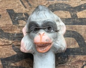 Antique doll part Monkey with glasses, hand painted animal doll, anthropomorphic art, ape chimp monkey doll, assemblage art supply
