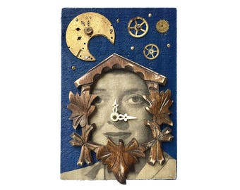 A Little Cuckoo, 4x6 small original mixed media assemblage, cuckoo clock parts, found object art, peculiar art by Elizabeth Rosen