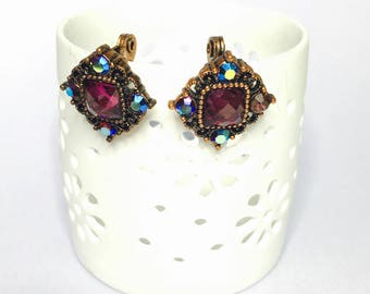 Art Deco copper clip on Earrings, purple crystals, Clearance Sale, Item No. B901