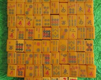 Vintage 76 Pieces Bakelite Mah Jong Tiles Pieces MahJong -