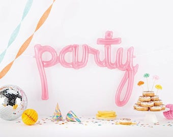 Pink Script Balloon, Party Word Balloon, Large Balloon Banner, Pink Baby Shower Decor, Girl's Birthday, Photo Props, Bridal Shower, Pastel