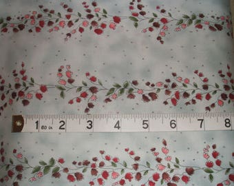 Pink Flowers on Pale Blue Cotton Fabric by RJR Fabrics x one yard