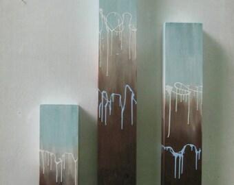 Art- Painting-  Wood Wall Art-  Abstract Painting (On Wood)-  Reclaimed Wood Wall Art-  Pillar Art,  Blue + Brown