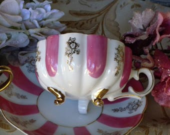 Pink & White Stripe with Golden accents ~ Made in Japan Footed Tea Cup and Saucer in a Fluted Cup with pink white iridescent gold trim