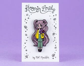 Bloomin' Lovely Hard Enamel Lapel Pin // Cotton Candy Sunshine Variant // Wearable Art, Jewelery, Flowers, Chibi, Cute, Kawaii, Girl