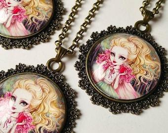 Cabochon Art Necklace - Fairytale Girl Miniature Wearable Art Cameo Pendant