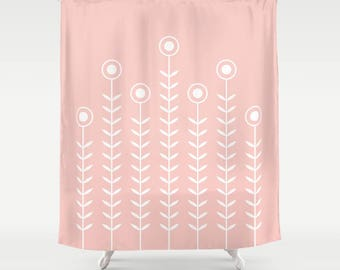 36 colours, Minimalist Flowers Shower Curtain, Scandinavian style, Rose Quartz geometric shower curtains, flower pattern bathroom decor