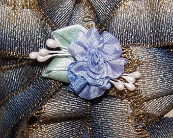 Handmade,French Ribbonwork,Ribbon Flower,100% Silk Floral,Blue Ombre,Satin,Mint Green,Floral Embellishment,Floral Applique,Sugar Pips