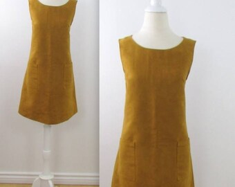 SALE A Line Jumper Dress - Vintage 1970s Faux Suede Shift Dress in Golden Tan - Medium Large