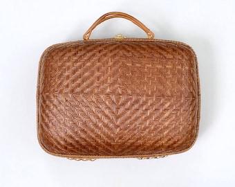 Vintage Woven Natural Rattan Suitcase Handbag, Chevron Diamond Weave