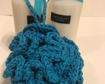 Handmade Blue Crochet bath pouf gift for her or her under 10 gift basket idea made with 100% cotton yarn