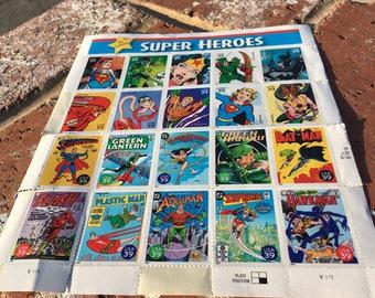 "Vintage 80's ""SUPER HEROES POSTAGE STAMPs- Sheet of 20 Self-Adhesive Postage Stamps - D C Comics"