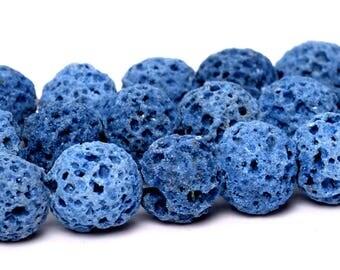 "6MM Blue Volcanic Lava Beads Grade AB Natural Gemstone Full Strand Round Loose Beads 15"" BULK LOT 1,3,5,10 and 50 (101916-429)"