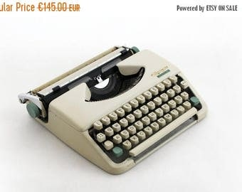 SALE 20% off Vintage White Typewriter, Portable Travel Olympia Splendid 33, Working Typewriter, Mid Century Manual typewriter 60s, Home deco