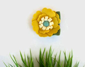 Mustard and Turquoise  Felt Flower Clip