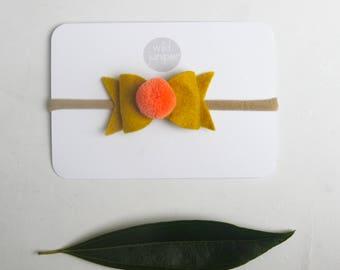 Baby Hair Bow - Hair Bow Headband - Mustard and Coral