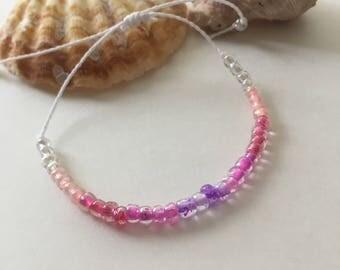 Seashell Jewelry ... Wish Bracelet ... Adjustable ... Seed Bracelet on White  (1631)
