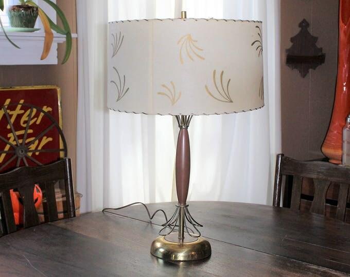 Vintage Mid Century Lamp Teak Wood and Brass 1950s