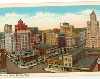 Linen Postcard, El Paso, Texas, Skyline of El Paso