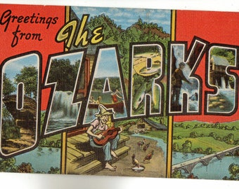 Linen Postcard, Greetings from The Ozarks, Hillbilly, Fishing, Large Letter