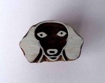 Dachshund Dog Stamp -Indian Wood Stamp - Wood Block Printing - Hand Carved