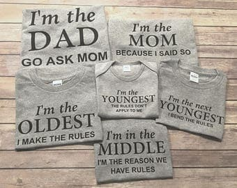 oldest middle youngest mom dad, set, make the rules, reason for rules, bend the rules, rules don't apply, sibling set, One Piece or Shirt