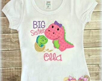Big Sister shirt - Dinosaur big sister shirt - girls dinosaur shirt - Big sister outfit - personalized big sister shirt - embroidered shirt