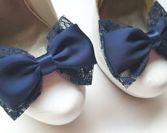 Wedding Lace Shoe Clips, Navy Blue Shoe Clips, Wedding Shoes Clips, Bridal SHoes Clips, Lace Shoe Clips, Shoe Clips ons, Bow Shoe Clips,
