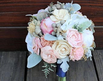 Keepsake Bridal Bouquet - Silk Flowers, Peony, Anemone, Sola Flowers, Wood Flowers, Wedding Flowers, Dusty Miller, Silver Brunia