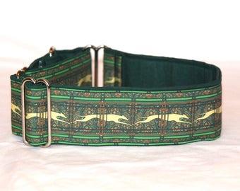 "2"" Martingale Dog Collar Greyhound Paisley Stripes - Green Multi"