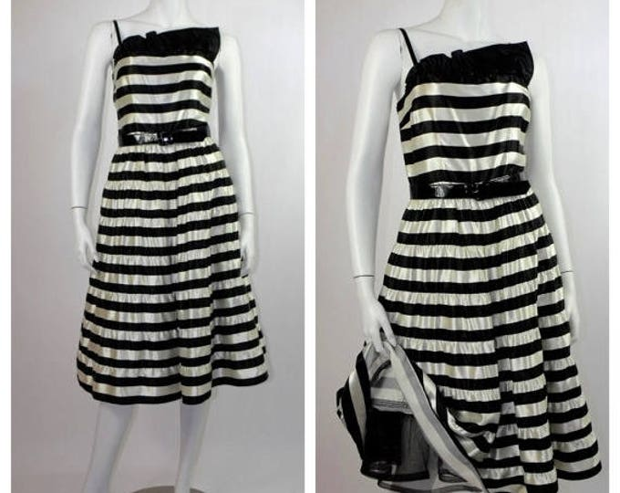 SUMMER SALE 1980's Rockabilly Dress / 80's Black & White Striped Satin Prom Dress / 80's A. J. Bari Cocktail Dress / Full Skirt Steampunk Dr
