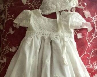 Ivory Baptism Dress with Bonnet - Christening Gown -  - Baby Girl Dress - Long Blessing Dress - Handmade Dress