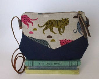 Big cats. Crossbody purse - Summer purse - Small canvas bag - Cross over purse -Festival purse - Navy blue - Tiger purse - Ready to ship