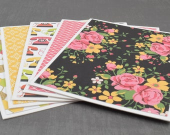 Flower Cards, Retro Cards, Pack of Greeting Cards, Assorted Cards, Set of Cards, Blank Greeting Cards, Stationery Cards, Blank Cards