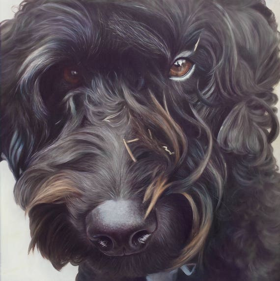 Pet Portrait - Oil Painting - Pet Painting - DOG PORTRAIT - Custom Portrait - Labradoodle Painting - Unique Gift