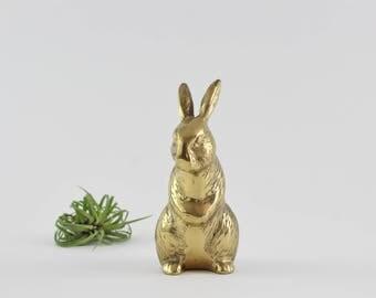 Vintage Brass Bunny Rabbit Figurine - Easter Decoration