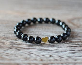 Faceted Black Onyx with Gold Heart Bracelet