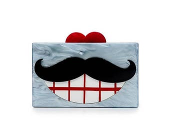 Mr. Beard Perspex Clutch Bag
