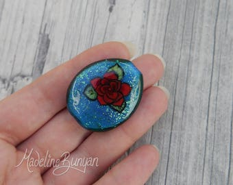 Red Tattoo Style Rose on Teal Blue, Lampwork Focal Bead