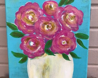 Hand painted Flowers on Canvas  - Valentine Gift - Mother's Day