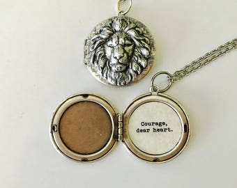 Courage, dear heart.  Aslan Necklace. Aslan Locket. C.S. Lewis quote locket. Encouragement.