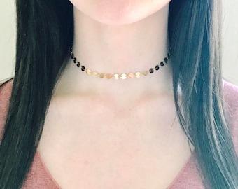 Gold disc choker, gold circle necklace, boho chic