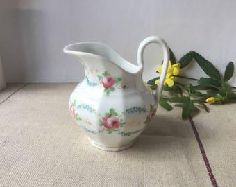 French vintage Milk jug Porcelain Limoges France, 19th hand painting Roses