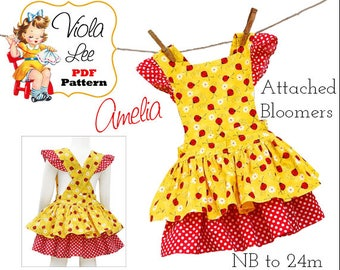 Baby Sewing Pattern, Girl's Dress Pattern. Infant Dress Pattern. Romper pdf Sewing Pattern. pdf Sewing Pattern. Baby Summer Dress. Amelia
