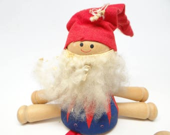 Vintage Santa Puppet, Antique Wooden Christmas Ornament, Made in Sweden, Hand Painted