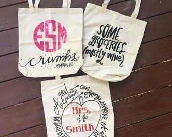 SALE!!! Personalized Monogram Tote Bag Teachers Wine Bag Mom Bag